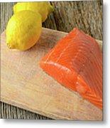 Salmon With Lemons On Wood Background Metal Print