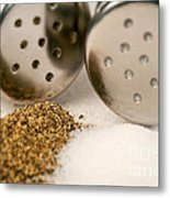 Salt And Pepper Shaker Spilled Metal Print