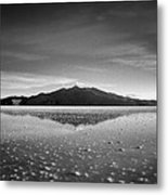 Salt Cloud Reflection Black And White Select Focus Metal Print