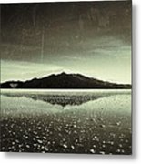 Salt Cloud Reflection Black And White Vintage Metal Print
