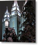 Salt Lake Temple In The Snow Metal Print