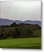Saltire And The Ruins Of The Urquhart Castle In Scotland At A He Metal Print