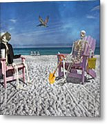 Sam And His Friend Visit Long Boat Key Metal Print