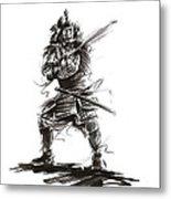 Samurai Complete Armor Warrior Steel Silver Plate Japanese Painting Watercolor Ink G Metal Print