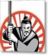 Samurai Warrior Sword Retro Metal Print