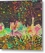 San Antonio Skyline Watercolor 5 Metal Print