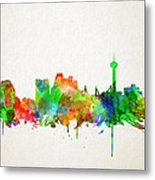 San Antonio Skyline Watercolor Metal Print