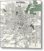 San Antonio Texas Hand Drawn Map  1909 Metal Print