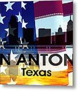 San Antonio Tx Patriotic Large Cityscape Metal Print