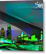 San Diego California Skyline Watercolor Metal Print