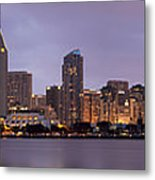 San Diego Skyline At Dusk Panoramic Metal Print