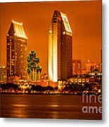 San Diego Skyline At Night Along San Diego Bay Metal Print