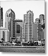 San Diego Skyline In Black And White Metal Print