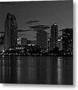 San Diego Skyline Monochrome Metal Print