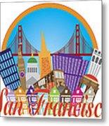 San Francisco Abstract Skyline Golden Gate Bridge Illustration Metal Print
