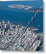 San Francisco Bay Bridge Aerial Photograph Metal Print