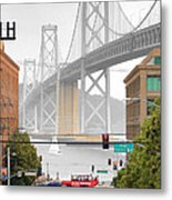 San Francisco Bay Bridge And Bay Quackers Metal Print