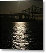 San Francisco Bay Bridge Construction Under The Moonlight Metal Print