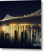 San Francisco Bay Bridge Illuminated Metal Print