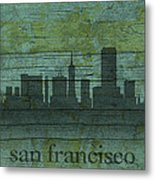 San Francisco California Skyline Silhouette Distressed On Worn Peeling Wood Metal Print
