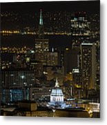 San Francisco Cityscape With City Hall At Night Metal Print