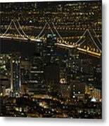 San Francisco Cityscape With Oakland Bay Bridge At Night Metal Print