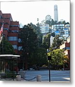 San Francisco Coit Tower At Levis Plaza 5d26186 Metal Print by Wingsdomain Art and Photography