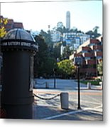 San Francisco Coit Tower At Levis Plaza 5d26213 Metal Print by Wingsdomain Art and Photography