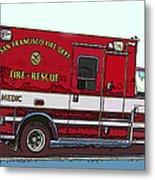San Francisco Fire Dept. Medic Vehicle Metal Print by Samuel Sheats