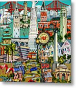 San Francisco Illustration Metal Print
