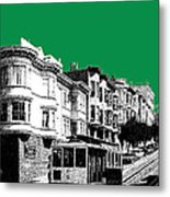 San Francisco Skyline Cable Car 2 - Forest Green Metal Print