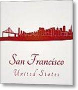 San Francisco Skyline In Red Metal Print