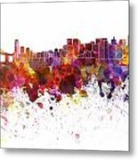 San Francisco Skyline In Watercolor On White Background Metal Print