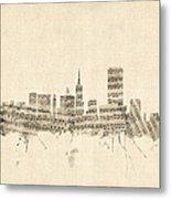 San Francisco Skyline Sheet Music Cityscape Metal Print