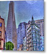 San Francisco Transamerica Pyramid And Columbus Tower View From North Beach Metal Print