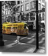 San Francisco Vintage Streetcar On Market Street - 5d19798 - Black And White And Yellow Metal Print