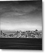 San Fransisco Cityscape Black And White Panorama Metal Print