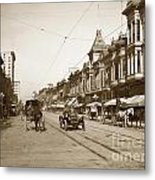 94-095-0001 Early Knox Automobile First Street San Jose California Circa 1905 Metal Print