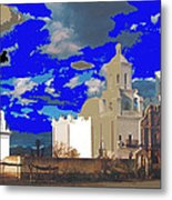 San Xavier Mission Brooding Clouds Post Card Ray Manley  Photo No Date-2013  Metal Print