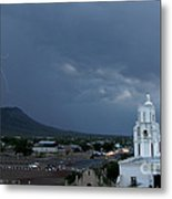 San Xavier Mission With Lightning Metal Print