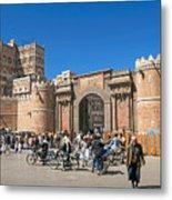 Sanaa Old Town Busy Street In Yemen Metal Print