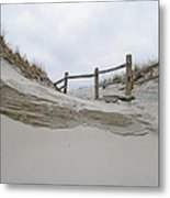 Sand Dune And Fence Metal Print