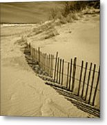 Sand Dunes And Fence Metal Print