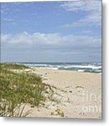 Sand Dunes And The Sea Metal Print