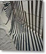 Sand Fence During Winter On The Beach Metal Print