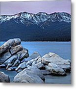Sand Harbor Rocks Metal Print