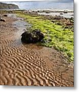 Sand Patterns On Robin Hoods Bay Beach Metal Print