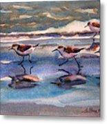 Sandpipers Running In Beach Shade 3-10-15 Metal Print