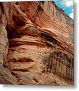 Sandstone Cliff In Canyon De Chelly 1993 Metal Print by Connie Fox