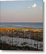 Sandy Beach And Three Tiny Clouds Metal Print